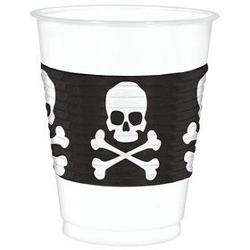 Skull and Cross Bones Plastic 16oz Cups (25 Count)