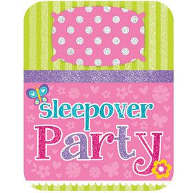 Sleepover Party Glitter Birthday Party Invitations (8 Count)