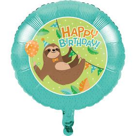 Sloth Birthday Foil Balloon