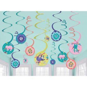 Sloth Celebration Hanging Spiral Decorations