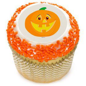 "Smiling Pumpkin 2"" Edible Cupcake Topper (12 Images)"
