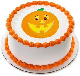 "Smiling Pumpkin 7.5"" Round Edible Cake Topper (Each)"