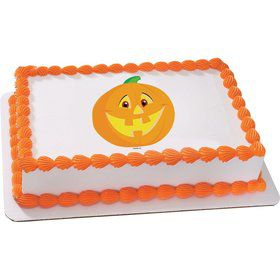 Smiling Pumpkin Quarter Sheet Edible Cake Topper (Each)