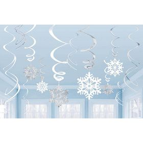 Snowflake Swirl Hanging Decorations (6 Piece)