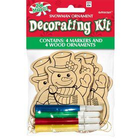 Snowman Wood Ornament Decorating Kit (4 Pack)