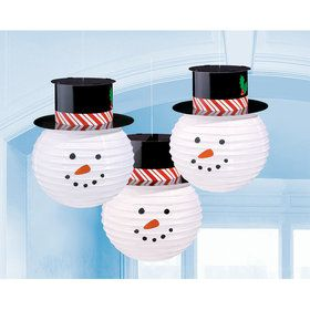 Snowmen Lanterns With Hats (3 Count)