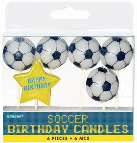 "Soccer 3"" Pick Candles (6 Pack)"