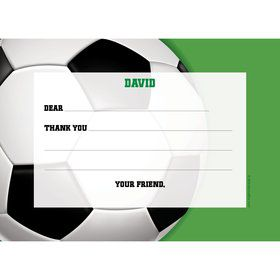 Soccer Party Personalized Thank You Note