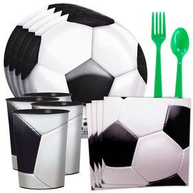 Soccer Party Standard Tableware Kit With Plastic Favor Cups (Serves 8)