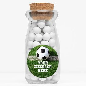 "Soccer Personalized 4"" Glass Milk Jars (Set of 12)"