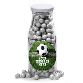 Soccer Personalized Glass Milk Bottles (12 Count)