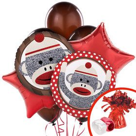 Sock Monkey Red Balloon Bouquet