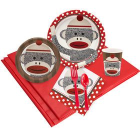 Sock Monkey Red Party Pack