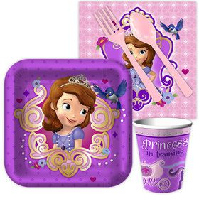 Sofia The First Standard Birthday Party Tableware Kit Serves 8