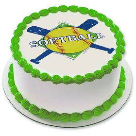 "Softball 7.5"" Round Edible Cake Topper (Each)"