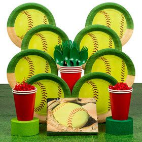 Softball Deluxe Party Tableware Kit (Serves 8)