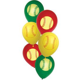Softball Latex Balloons (6 Count)