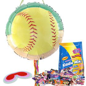 Softball Party Pull String Economy Pinata Kit