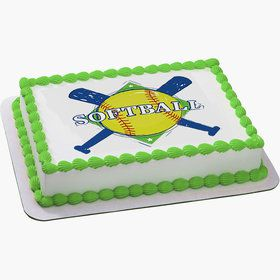 Softball Quarter Sheet Edible Cake Topper (Each)