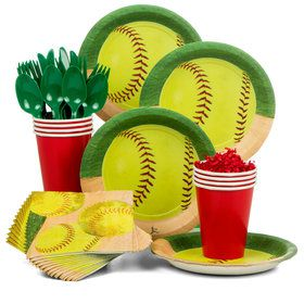 Softball Standard Party Tableware Kit (Serves 8)