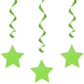 "Green Star 36"" Hanging Swirl Decorations (3 Pack)"