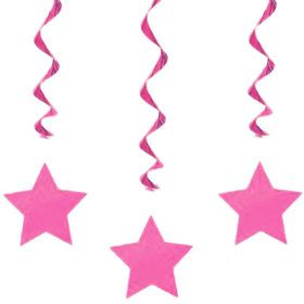 "Pink Star 36"" Hanging Swirl Decorations (3 Pack)"