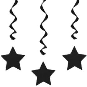 "Black Star 36"" Hanging Swirl Decorations (3 Pack)"