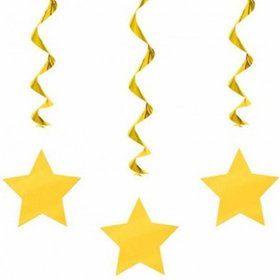 "Yellow Star 36"" Hanging Swirl Decorations (3 Pack)"