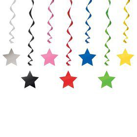 "Solid Color Star 36"" Hanging Swirl Decorations (3 Pack)"