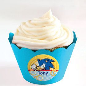 Sonic Personalized Cupcake Wrappers (Set of 24)