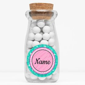 """Spa Party Personalized 4"""" Glass Milk Jars (Set of 12)"""