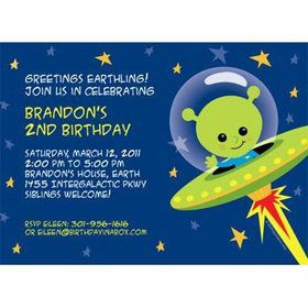 Space Alien Personalized Invitation (each)