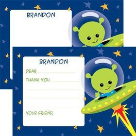 Space Alien Personalized Thank You Note (each)