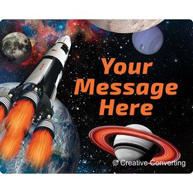 Space Blast Personalized Rectangular Stickers (Sheet of 15)