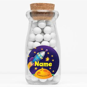 "Space Personalized 4"" Glass Milk Jars (Set of 12)"