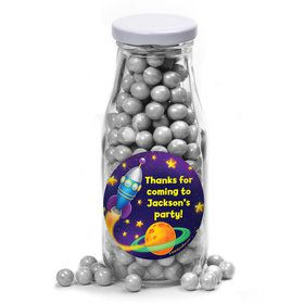 Space Personalized Glass Milk Bottles (10 Count)