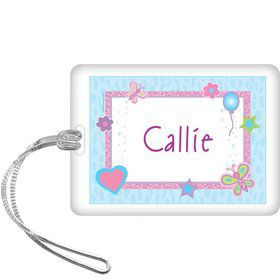 Sparkle Butterfly Personalized Bag Tag (each)