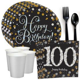 Sparkling Celebration 100th Birthday Standard Tableware Kit (Serves 8)