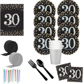 Sparkling Celebration 30th Birthday Deluxe Tableware Kit (Serves 8)