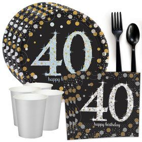 Sparkling Celebration 40th Birthday Standard Tableware Kit (Serves 8)