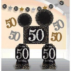 Sparkling Celebration 50th Birthday Room Decorating Kit (10 Pieces)