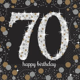Sparkling Celebration 70th Birthday Beverage Napkins (16)