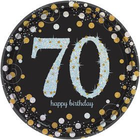 Sparkling Celebration Prismatic 70th Birthday Dessert Plates (8)