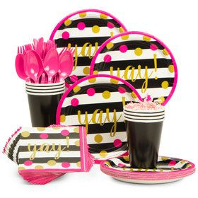Sparkling Grad Party Standard Tableware Kit Serves 18