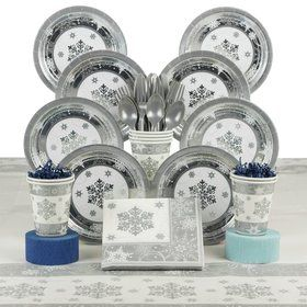 Sparkling Snowflake Party Deluxe Tableware Kit Serves 8