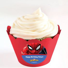 Spider-Man Personalized Cupcake Wrappers (Set of 24)