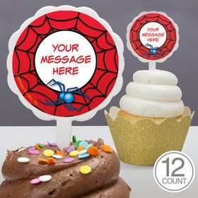 Spider Personalized Cupcake Picks (12 Count)