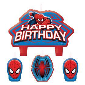 Spiderman Birthday Candle Set (4 Pack)