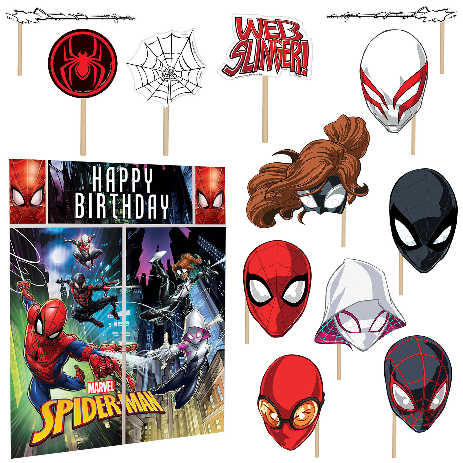 Spiderman Wall Decorating Kit With Photo Props BB670667