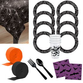 Spiders & Bats Deluxe Tableware Kit (Serves 40)